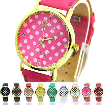 Women Girl Lady Classic Geneva Dot Print Leatheroid Analog Quartz Wrist Watches