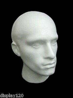 Male White Polystyrene Mannequin Wig Hat Fashion Display Head Shopfittings