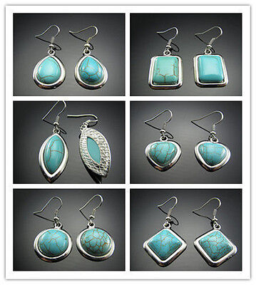 TOP Charm Show 18KGP Tibetan Silver wrapped Charm 100% Turquoise Hook Earring