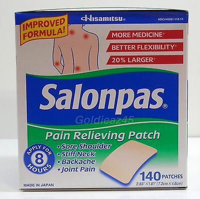 "SALONPAS PAIN RELIEVING 140 PATCHES TOPICAL ANALGESIC 2.83"" x 1.81"""