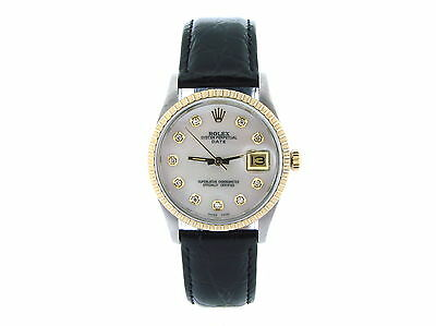Mens Rolex Date 2tone 14k Gold/Steel Black Leather Watch White MOP Diamond Dial