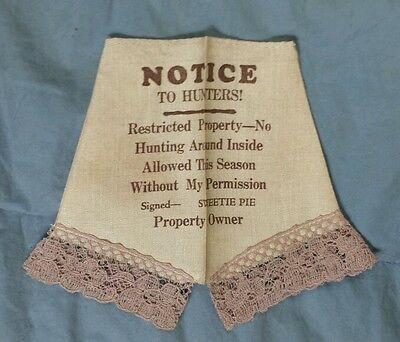 """Vintage Doll Pants """"Short But Sweet /Pie Notice To Hunters"""""""