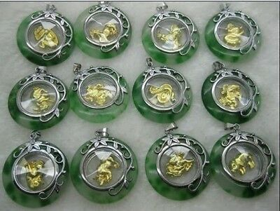 12PCS cute rotatable Zodiac jade lucky pendant