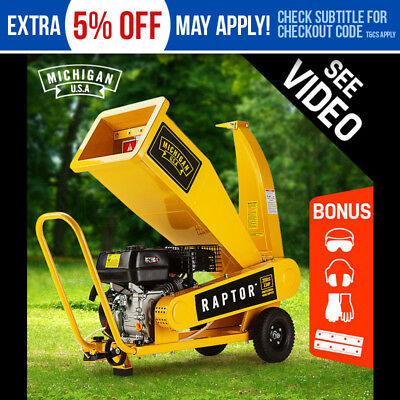 NEW 208cc Wood Chipper Mulcher MICHIGAN Raptor 4-Stroke 1000Chip Petrol Shredder