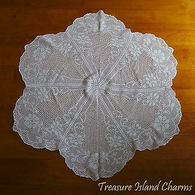 """ROUND WHITE CROCHET DOILY LACE TABLE CLOTH WITH SPRING FLOWERS 100% Cotton 36"""""""