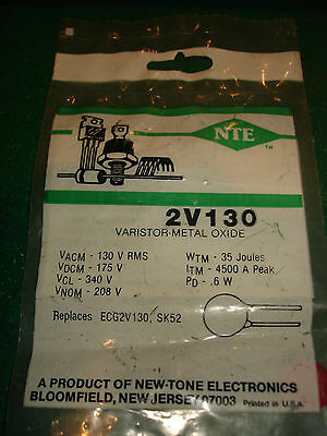 New Nte Metal Oxide Varistor 2V130 New In Package, Nos Ready To Go