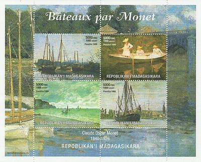 The Boats Of Monet Ship Art 1999 Mnh Stamp Sheetlet