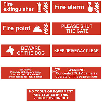 Information Warning Red Self Adhesive Beware Dog Fire Workplace Signs - 200x50mm