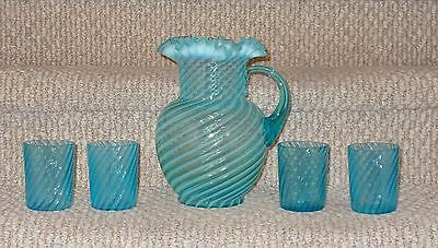 Jefferson Blue Opalescent Swirl Lemonade Set / Pitcher with 4 Tumblers  1908  NR