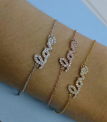 Gold Plated Adjustable Sterling Silver LOVE Chain Bracelet w/ Cubic Zirconia CZ