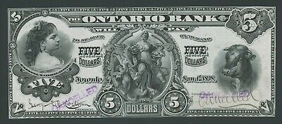 Canada $5 Ontario Bank 1898 Face Proof Charlton 20-02 Hv7929