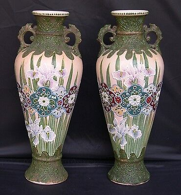 2 Antique Japanese Meiji Period Arts & Crafts Slip Decorated Satsuma Iris Vases