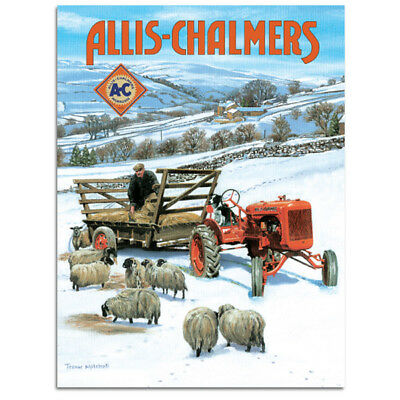 Allis-Chalmers Tractor and Sheep Steel Sign Vintage Farm and Barn Decor 12x16