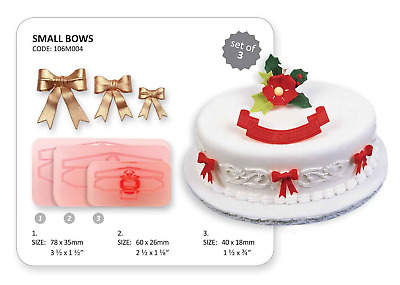 JEM Set of 3 SMALL BOWS Border & Design Cutters Icing Sugarcraft Cake Decoration