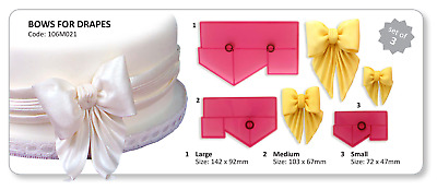 JEM Set of 3 BOWS FOR DRAPES Border & Design Cutters Icing Sugarcraft Cake Decor