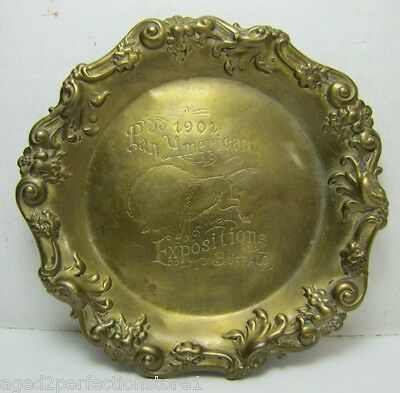 Orig 1901 Pan American Exposition Brass Tray ornate trinket ring jewelry coin