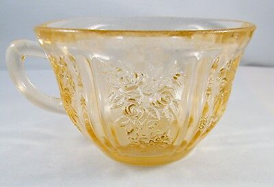 Vintage Federal Glass Tea Cup Sharon Cabbage Rose