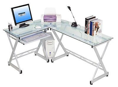 "Glass Corner Desk Unit ""Clear Glass"" With Rounded Edges"