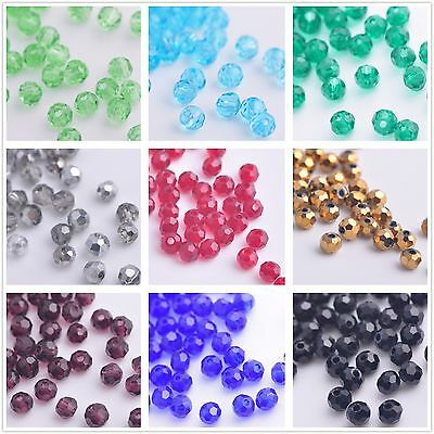 200/1000pcs 3mm Round Faceted Ball Crystal Glass Loose Spacer Beads Wholesale