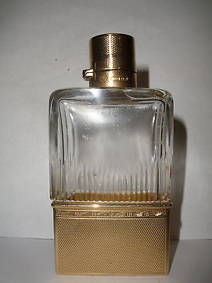Antique English 9K Gold Mounted Crystal Rectangular Flask Goldsmiths Silversmith
