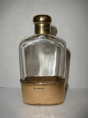 Antique English 9K gold hand Hammered Gold Cup & Cut Crystal  Flask