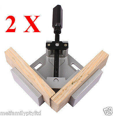 2 x 90°Corner Clamp,One Handle,Picture Frame Woodworking Welding Vice,Alloy Body