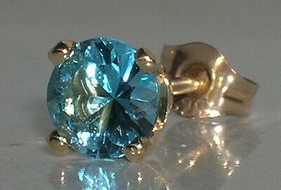 Brand New 5mm Blue Topaz Mens Single 9ct Gold Stud Earring Freepost