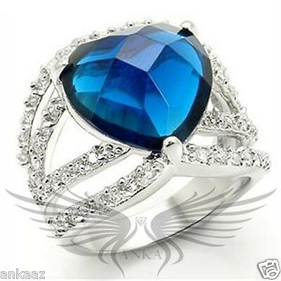 Brilliant Heart Shaped Top Graded Crystals Engagement Cocktail Ring 5-10 GL017