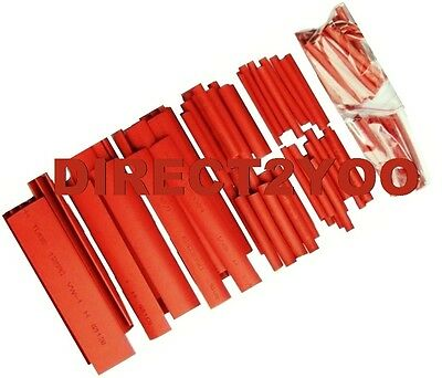 127pc Heat Shrink RED Tube Electric Insulation Sleeve Assorted Cable Wire Wrap