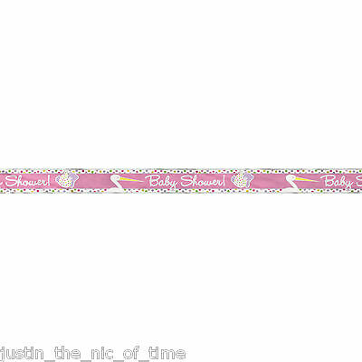PINK STORK Girl Baby Shower Party Banners Decorations 12ft FOIL BANNER
