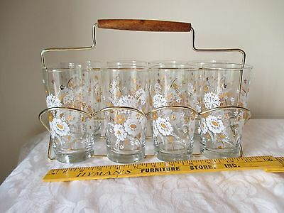 VTG Yellow Gold Floral Drinking Glass Drinking Tumblers W/ FOLDING Caddy Carrier