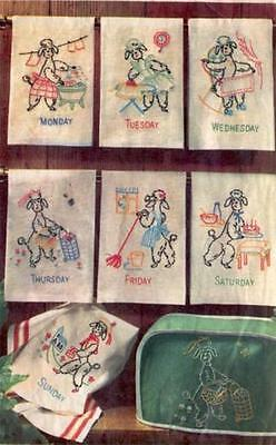 Vintage Embroidery Transfer repo 5201 Poodles for Days of the Week dish towels
