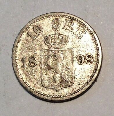 Norway 10 Ore - 1898 - Collectible Silver Coin