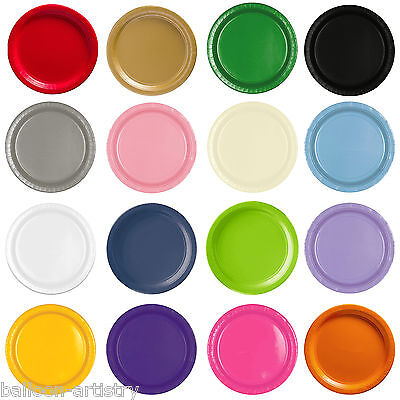 8 Paper 9in Solid Colour Plates Wedding Tableware Party Supplies Colours