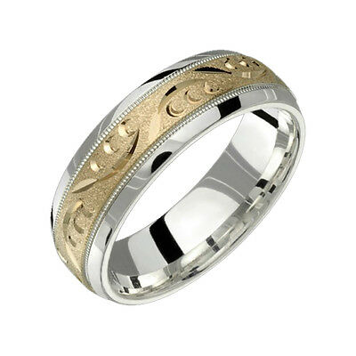 10k Yellow Gold Ring W .925 Sterling Silver Comfort Fit 7mm Wide Wedding Band