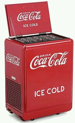 New 1930's style Coca Cola Coke cooler metal refrigerator with bottle opener