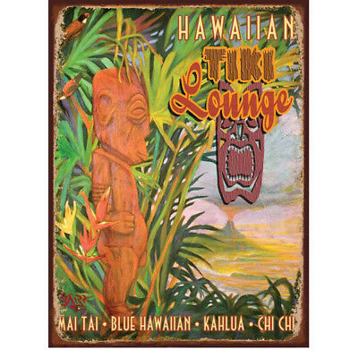 Hawaiian Tiki Lounge Steel Sign Tropical Cocktails Vintage Bar Decor 12x16
