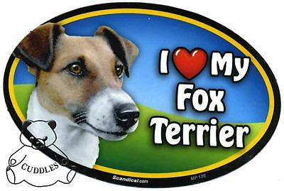 I Love My Fox Terrier Dog Car Magnet Scandical Heart Puppy Realistic Pet Fun NWT