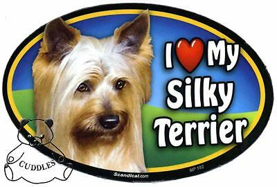 I Love My Silky Terrier Dog Car Magnet Scandical Heart Realistic Pet Pup Fun NWT