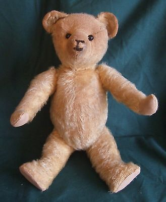 """LOVELY VINTAGE 1930s 16"""" MOHAIR JOINTED TEDDY BEAR, GLASS EYES, PROBABLY ENGLISH"""