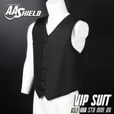 AA Shield Bullet Proof VIP Vest Concealable Body Armor Suit Lvl IIIA 3A  L Black