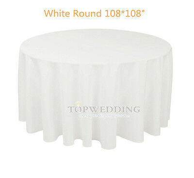 """108"""" Round Satin White Tablecloths Wedding Party Banquet Decor Table Cover NEW"""