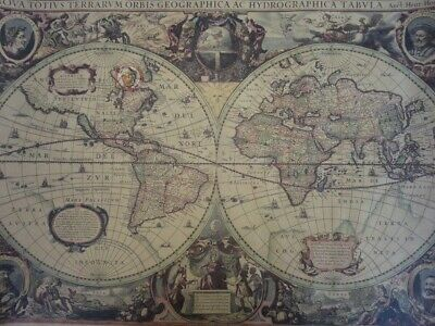 Poster Antique old world map 71cm x 50cm Henricus Hondius' 1630 world map