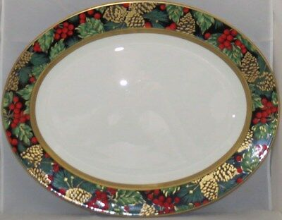 "Fitz & Floyd Holiday Pine 16"" Oval Serving Platter"