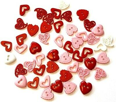 Dress It Up  PINK GLITTER VALENTINE HEARTS 8103 CRAFT SEW Jesse James Buttons