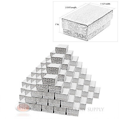 """100 Cotton Filled Jewelry Gift Boxes Silver Foil Covered 2 5/8"""" x 1 1/2"""" x1"""""""