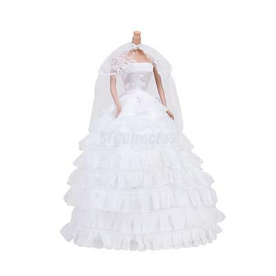 Handmade White Wedding Party Bridal Gown Dress Clothes Outfit for Barbie Doll