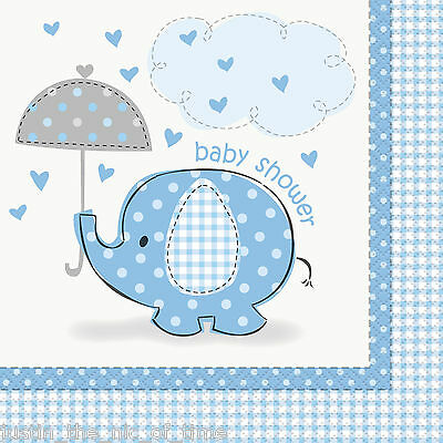 BLUE UMBRELLAPHANTS Baby Shower Boy Party Tableware Supplies Paper Napkins x16