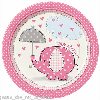 "PINK UMBRELLAPHANTS Baby Shower Girl Party Tableware Plate 7"" PAPER PLATES X8"