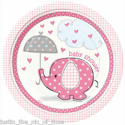"PINK UMBRELLAPHANTS Baby Shower Girl Party Tableware Plate 9"" PAPER PLATES X8"
